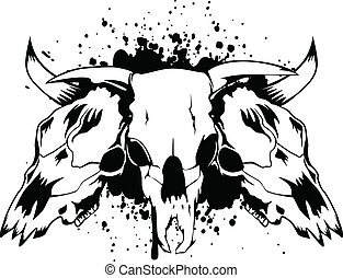 skulls bulls - Vector illustration skulls bulls