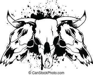 skulls bulls - Vector illustration skulls bulls