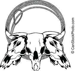 skulls bulls and lasso - Vector illustration skulls bulls...