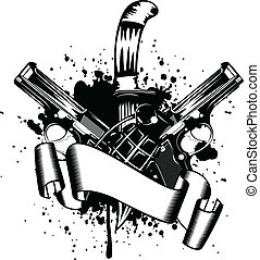 two pistols - Vector illustration two pistols and knife