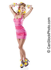 flower fashion girl with pink dress with open arms
