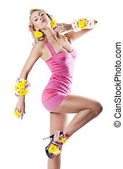 flower fashion girl with pink dress, her leg is raised