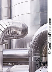Industrial pipeline - View of an industrial plant, pipes and...