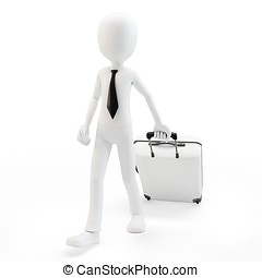 3d man businessman pulling a trolley suitcase on white...