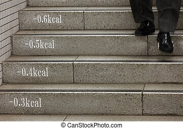 subway stairs with calorie loss and business man shoes,...