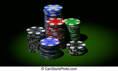 Gambling chips in piles