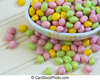 Easter jelly bans on the table.