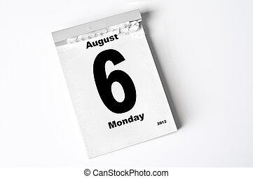 6. August 2012 - calendar sheet