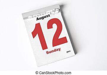12 August 2012 - calendar sheet