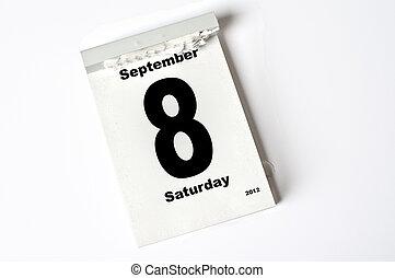 8. September 2012 - calendar sheet