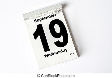 19 September 2012 - calendar sheet