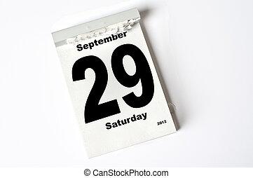 29. September 2012 - calendar sheet