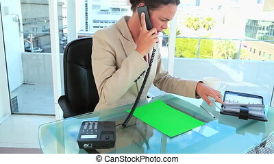 Businesswoman sitting a her desk with a copy space file