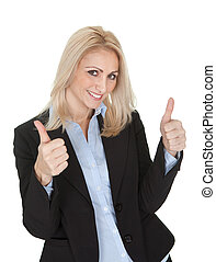 Beautiful business woman making a victory gesture -...