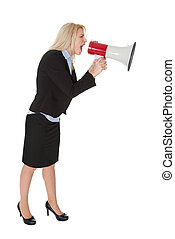 Female executive yelling through a megaphone Isolated on...