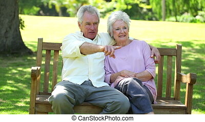 Mature man showing something to his wife while sitting on a...