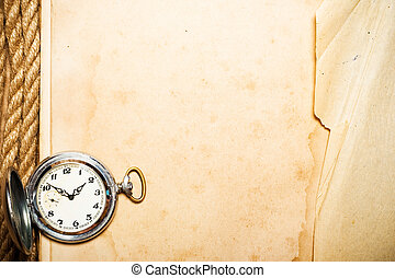 old clock on yellow paper