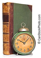 antikvitet, klocka, Årgång, isolerat, bok, vit