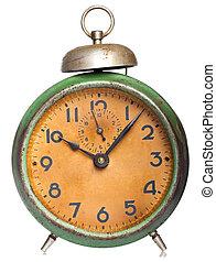 Årgång, vit, isolerat, klocka
