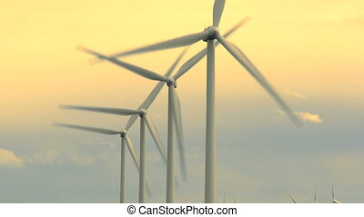 Wind turbines generating power - Wind farm turbines...