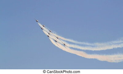 Aerobatic team flying at airshow