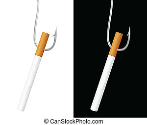 Hooked On Smoking - detailed concept illustrationd depicting...