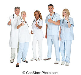 Group of happy doctors with thumbs up standing on white...