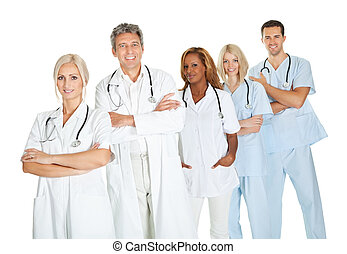 Successful group of doctors standing on white