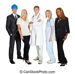 People of different professions together on white - Portrait...