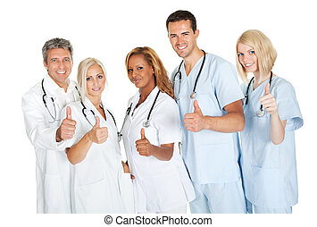 Friendly group of doctors with thumbs up on white - Friendly...
