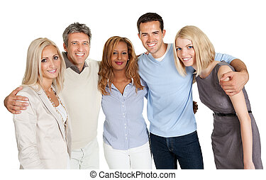 Group of happy people smiling isolated over white background