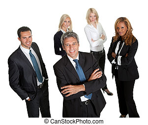 Confident business leader with his team in background on...