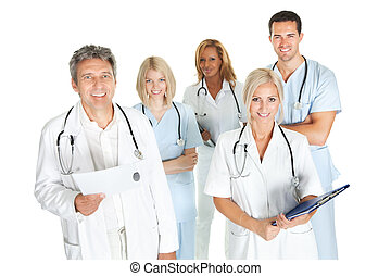 Diverse team of doctors and surgeons on white - Diverse team...