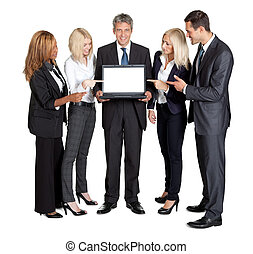 New technology in market - Team with laptop - Business team...