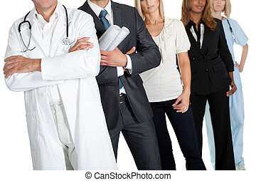People with different professions on white - Cropped image...