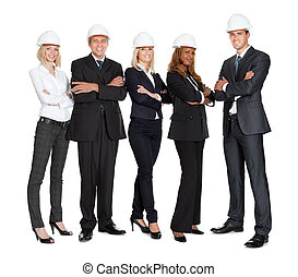 Team of successful construction workers on white