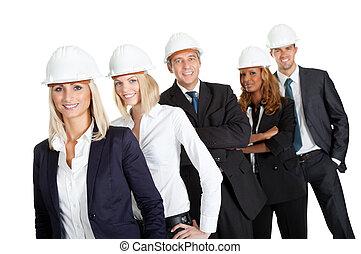 Trabalhadores, construção, isolado, branca, equipe