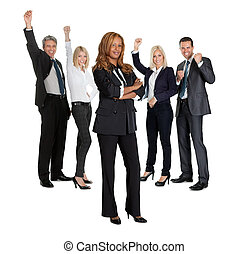 Female with her business colleagues - Young female with her...