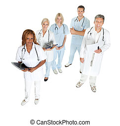 Doctors and surgeons looking up on white - Top view of...