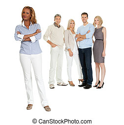 Confident young woman with her team - Portrait of confident...