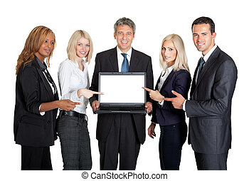Successful business team displaying a laptop isolated on...