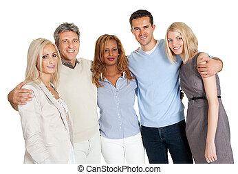 Casual group of friends isolated over white background