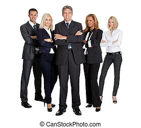 Team of successful business people on white
