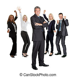 Businessman leading an group - Successful business man with...