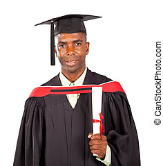 male african american graduate in gown and cap over white...