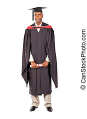 african american male graduate full length on white...