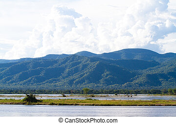 Zambezi River - A scenic shot of the mountains next to the...