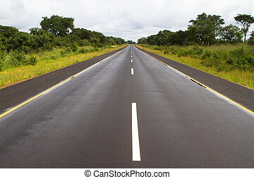 African tar road - A tar road in Zambia that's in a good...