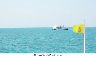 ocean water, ship, Thai flag