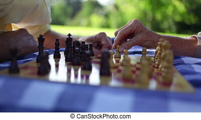 Mature couple playing chess in a park